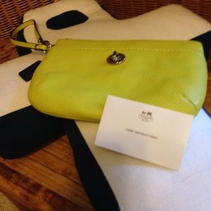 Coach Bags - Coach NWOT lime green leather wristlet bag RETAIL